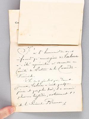 Lettre autographe signée de Georges Monval, Bibliothécaire Archiviste de la Com&...
