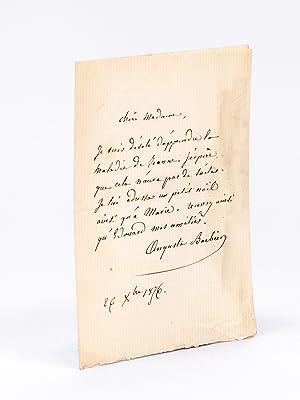 Billet autographe signé par Auguste Barbier [ A Mme Léonie Dentu, épouse de l&...