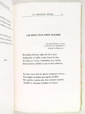 La Moisson Rouge. Sonnets de la Grande Guerre.: TAFT, Bernard