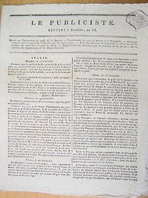 Le Publiciste. Septidi 7 Fructidor An VII [ 24 août 1799 ] : Détails sur l'&...
