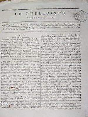 Le Publiciste. Tridi 3 Fructidor An VII [ 20 août 1799 ] : Arrivée du gén&...