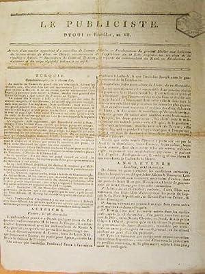 Le Publiciste. Duodi 12 Fructidor An VII [ 29 août 1799 ] : Arrivée d'un courrier...