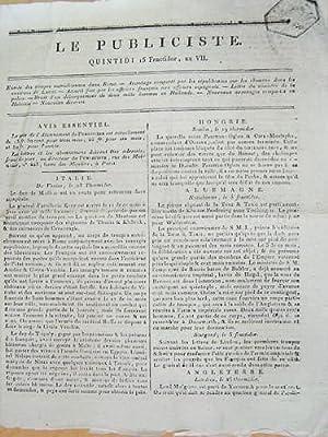 Le Publiciste. Quintidi 15 Fructidor An VII [ 1er septembre 1799 ] : Entrée des troupes ...