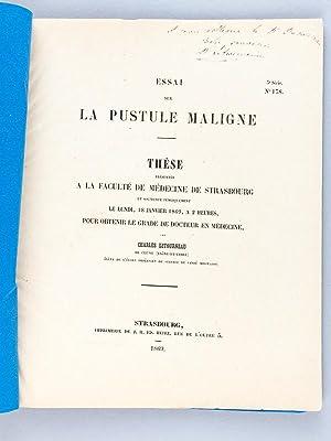 Essai sur la Pustule maligne. Thèse présentée: LETOURNEAU, Dr. Charles