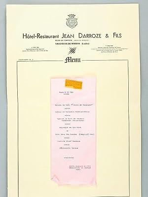 Menu et Carte des Vins. Hôtel Restaurant: DARROZE, Jean