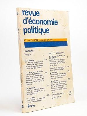 Revue d'économie politique n° 2, mars-avril 1982: Revue d'économie politique