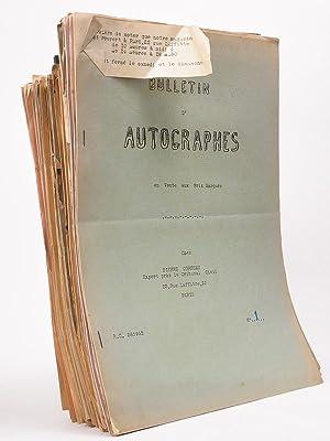 Bulletin d'autographes. Lot de plus de 65 bulletins, dont les 22 premiers: CORNUAU, Pierre