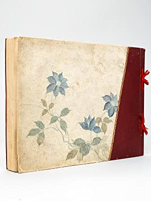 Japanese photograph album covered with silk flowers, with 50 albumen colored photographs circa 1890...