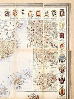 Nuevo Mapa de Espana y de sus Colonias indicando los caminos de hierro, carreteras rios y canalas &...