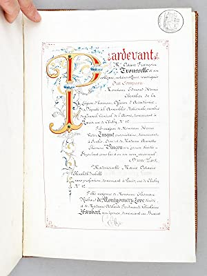 Contrat de mariage, calligraphié et enluminé, établi entre M. Edmond Turquet, ...