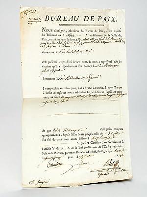 Bureau de Paix. Certificat de non-comparution daté du 15 septembre 1792 [ Pièce pr&...