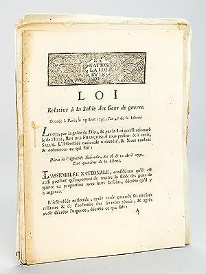 Loi relative à la Solde des Gens de guerre donnée à Paris le 29 avril 1792 [ ...