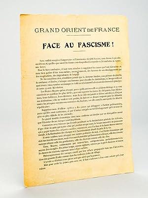 Grand Orient de France. Face au Fascisme !: Grand Orient de France ; AMILCAR, J.