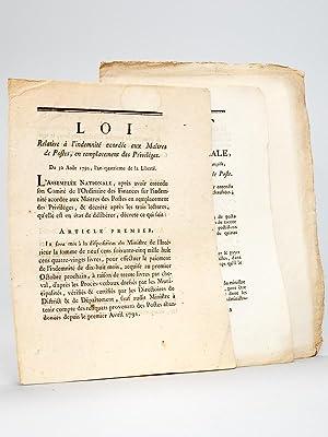 3 lois et décrets relatifs aux Maîtres de Poste ] 1e : Loi relative à l'...