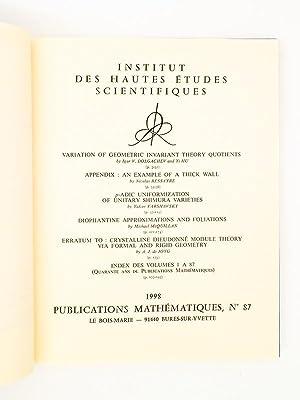 Institut des Hautes Etudes Scientifiques. Publication Mathématiques 1988, n° 87 : Index ...