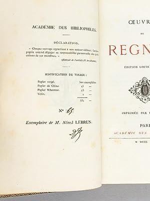 Oeuvres de Régnier.: REGNIER, Mathurin
