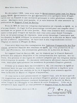 Investigation sur la Vie Religieuse dans la Province de France 1968 - [ On joint : ] Rapport d&#x27...