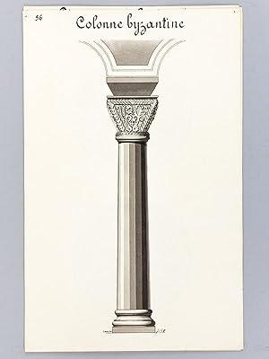 Architecture Romane. [Lot de 7 beaux lavis originaux ] Façade du XIe siècle - El&...