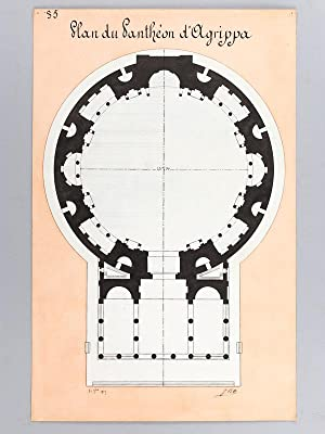 Coupe longitudinale du Panthéon d'Agrippa, aujourd'hui Eglise Santa Maria Rotonda ...