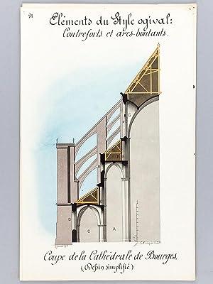 Architecture gothique lot de 10 beaux lavis originaux for Fenetre a cardinal