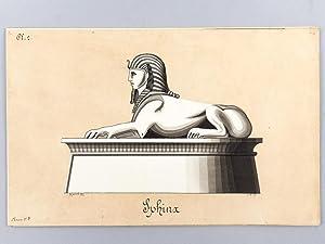 Art d'Egypte. [ Lot de 7 lavis et un pastel originaux ] Pyramide de Chéops. Coupe du ...