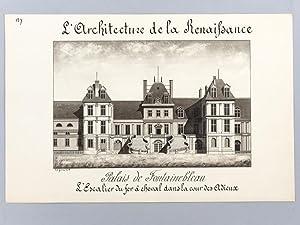 Architecture de la Renaissance. Palais de Fontainebleau. L'Escalier du fer à cheval ...
