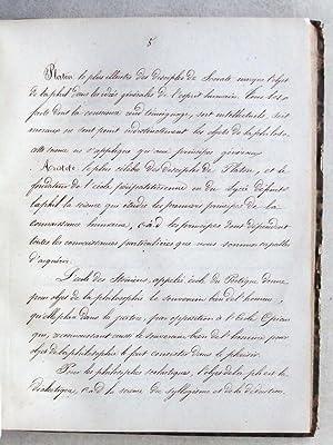 Manuscrit : Cours de philosophie. Psychologie [ Cours manuscrit de philosophie daté de 1850 ...