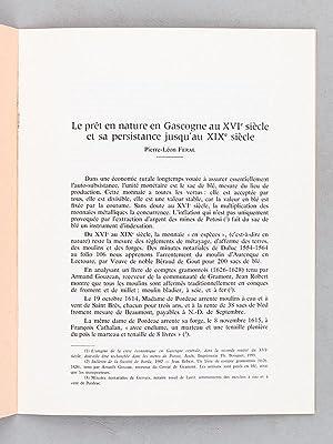 Le prêt en nature en Gascogne au XVIe siècle et sa persistance jusqu'au XIXe si&...