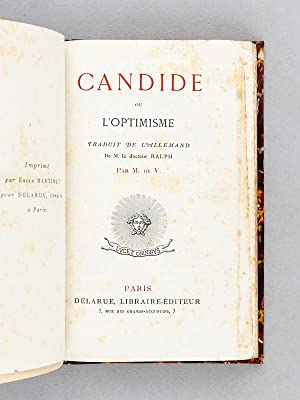 Candide ou l'Optimisme.: M. de V. ; VOLTAIRE