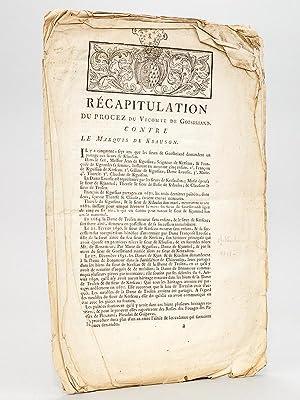 Récapitulation du Procez du Vicomte de Goesbriand contre le Marquis de Ksauson [ Kersauson ]...