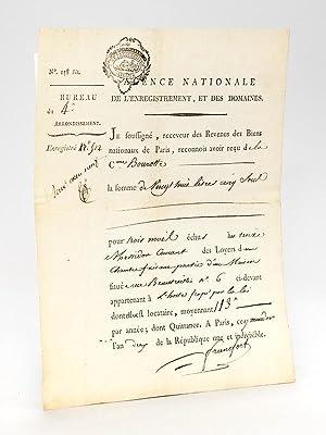 Je soussignée, receveur des Revenus des Biens Nationaux de Paris, reconnois avoir reç...