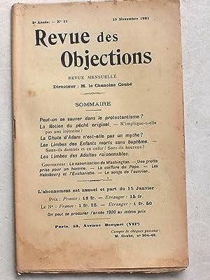 Revue des Objections. Revue mensuelle. 2e année n°10 . 15 novembre 1921. Sommaire : ...