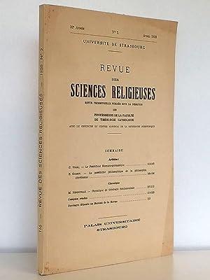 Revue Des Sciences Religieuses , Université de Strasbourg 32e année N° 2 , avril ...