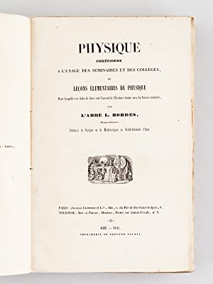 Physique chrétienne à l'usage des séminaires et des collèges ou Le...