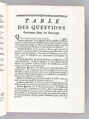 Questions concernant les Substitutions, avec les Réponses de Tous les Parlemens et Cours ...