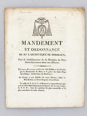 Mandement et Ordonnance de Mgr. l'Archevêque de Bordeaux, pour le rétablissement ...