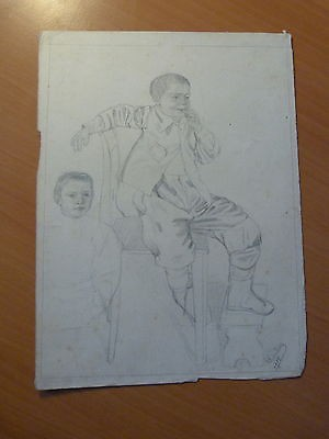 Garçon-Etude d'Auguste Dubois-Alsace-Dessin original-Gresswiller-Mutzig-1908