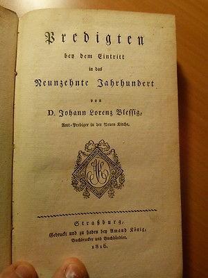 Blessig.Sermons pour l'entrée dans le 19ème siècle-Alsace-Temple-Neuf-Strasbourg