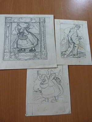 Auguste Dubois. Lot de 3 esquisses au crayon.Vers 1918/1919-Alsace-Gresswiller.