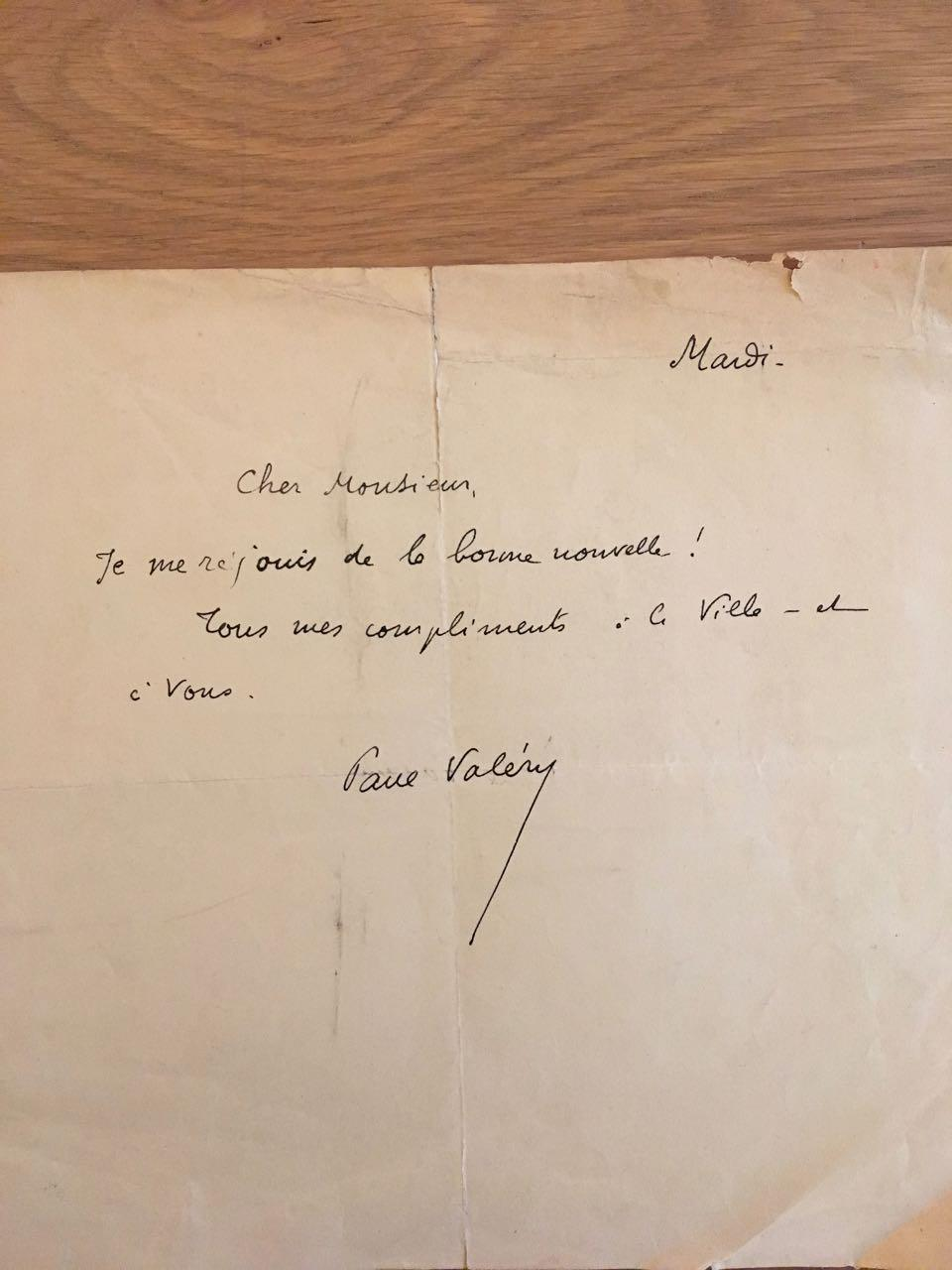 UN_BILLET_MANUSCRIT_SIGNÉ_ORIGINAL_DE_PAUL_VALÉRY_VALÉRIE_Paul_UN_BILLET_MANUSCRIT_SIGNÉ_ORIGINAL_DE_PAUL_VALÉRY_Bon_Couverture_souple
