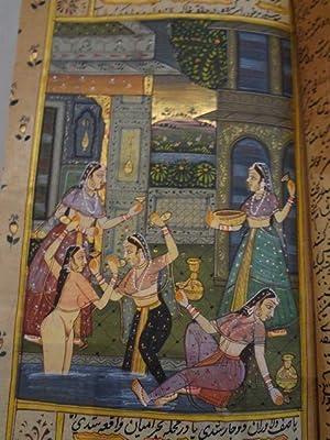 Manuscrit enluminé Indo-Persan. Scènes de harem, lieu de plaisir.: MANUSCRIT - HAREM]...