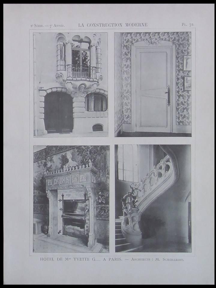 CONSTRUCTION_MODERNE_n°33__1902__PARIS_HOTEL_YVETTE_GUILBERT_SCHOELLKOPF_ART_NOUVEAU___Bon_Couverture_souple