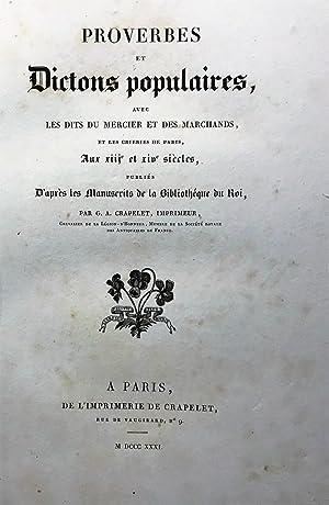 Proverbes et Dictons Populaires, avec les Dits: CRAPELET Georges Adrien.