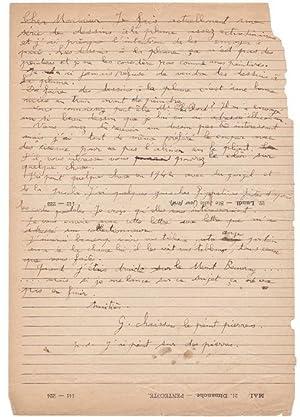 Belle lettre autographe signée adressée à Jules Lefranc au sujet des desssins ...