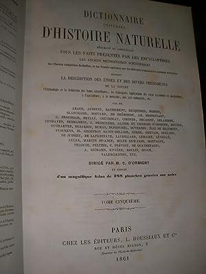 DICTIONNAIRE UNIVERSEL D'HISTOIRE NATURELLE (TOME 5 SEUL): D'ORBIGNY CHARLES