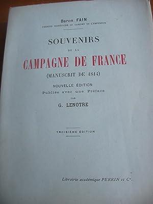 SOUVENIRS DE LA CAMPAGNE DE FRANCE (MANUSCRIT DE 1814): BARON FAIN