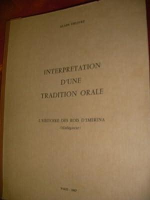 INTERPRETATION D'UNE TRADITION ORALE - L(HISTOIRE DES: DELIVRE ALAIN