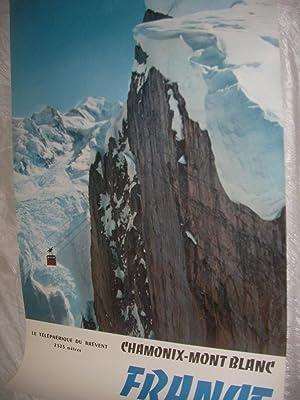 CHAMONIX MONT-BLANC - LE TELEPHERIQUE DU BREVENT (2525m): AFFICHE ORIGINALE] TAIRRAZ