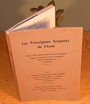 LES PRINCIPAUX SERPENTS DE L¿INDE étude suivie d¿une notice sur les scorpions (éd. Originale, 1948,...