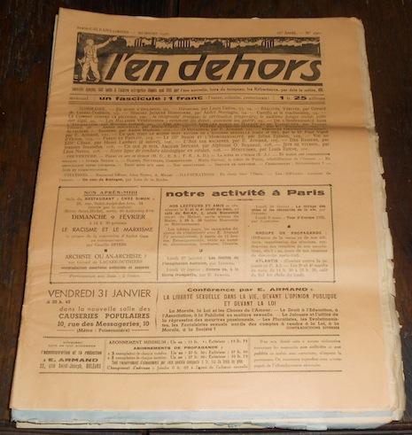 L'en dehors 1936 E. Armand, G. de Lacaze-Duthiers, Julien Benda, Eugène Bizeau, Jean Rostand, Métraux, Louis Estève, Barbedette, etc... Near Fine Softc